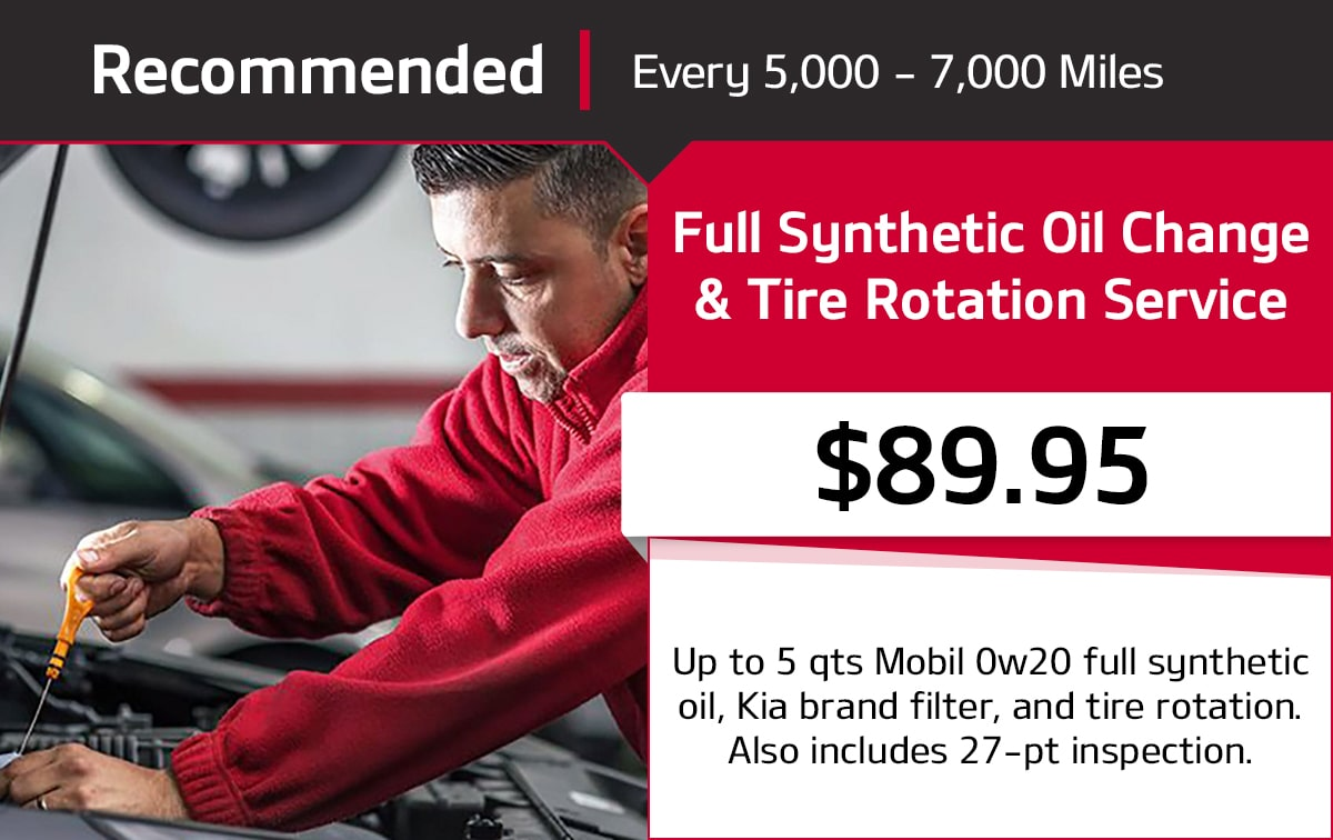 Kia Full Synthetic Oil Change & Tire Rotation Service Special Coupon