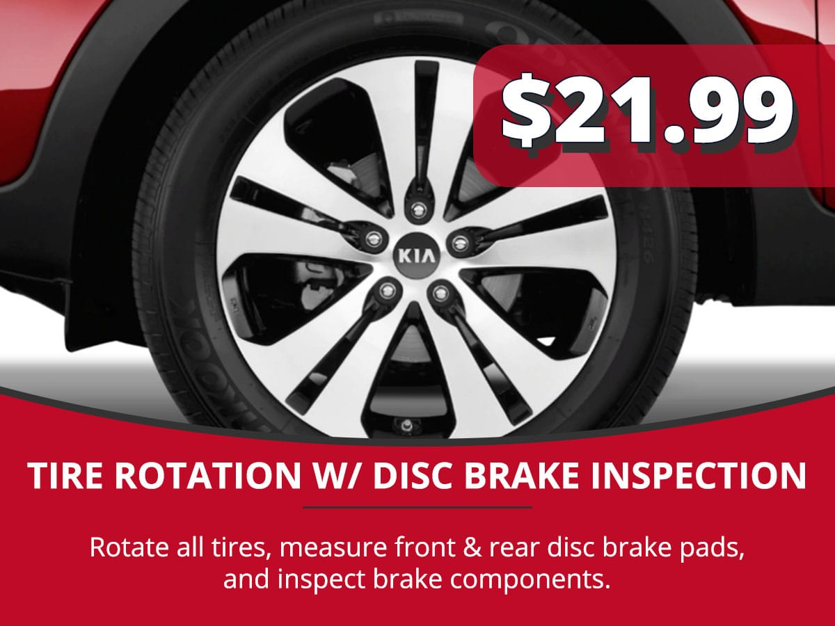 Tire Rotation w/ Disc Brake Inspection Service Special Coupon