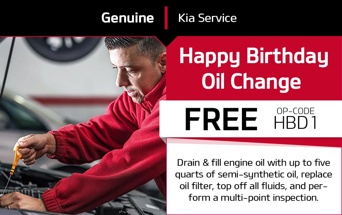 Kia Happy Birthday Oil Change Service Special Coupon