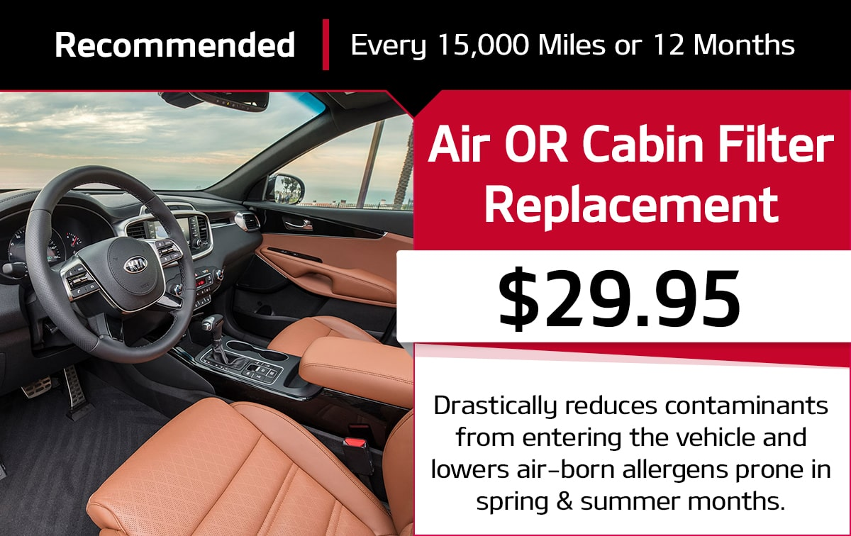 Kia Air OR Cabin Filter Replacement Service Special Coupon