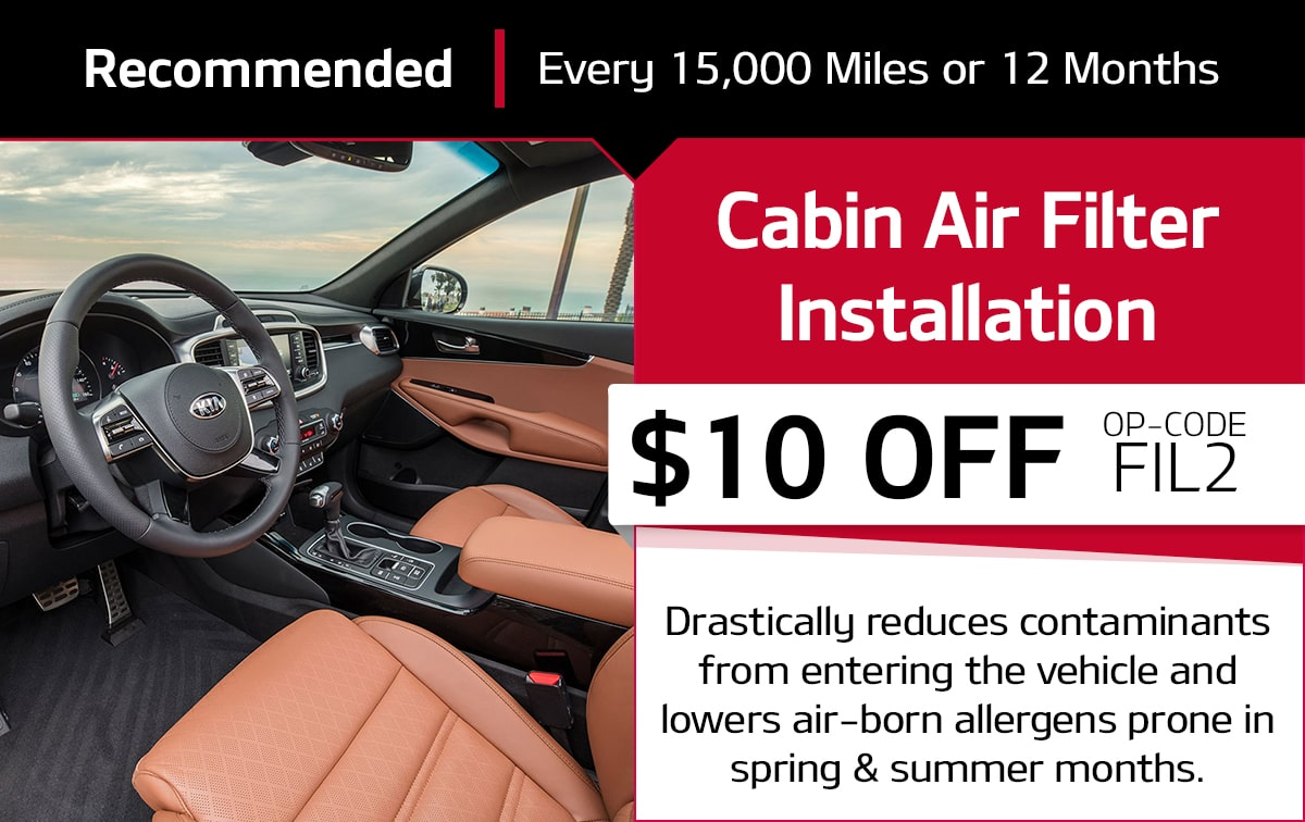Kia Cabin Air Filter Installation Service Special Coupon