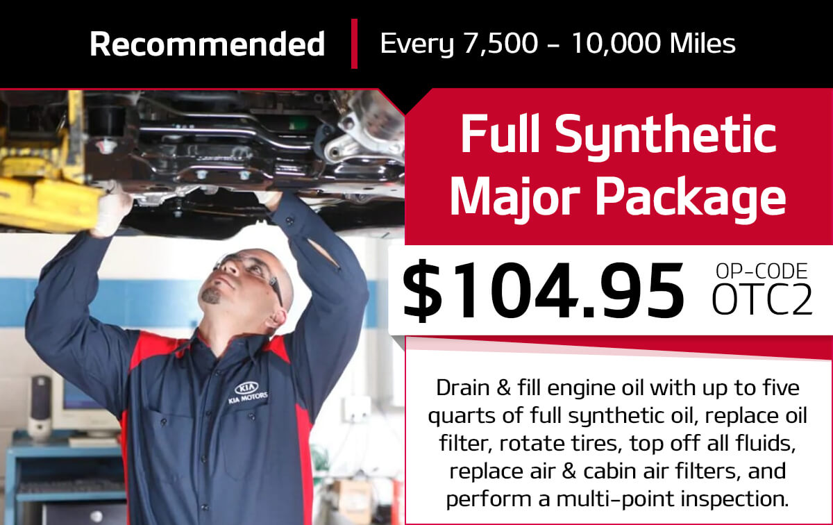Kia Full Synthetic Major Package Service Special Coupon