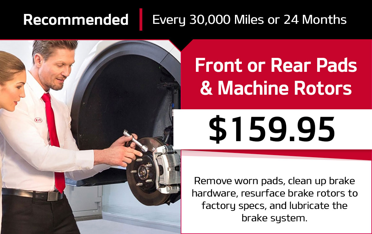 Kia Front/Rear Pads and Machine Rotors Service Special Coupon
