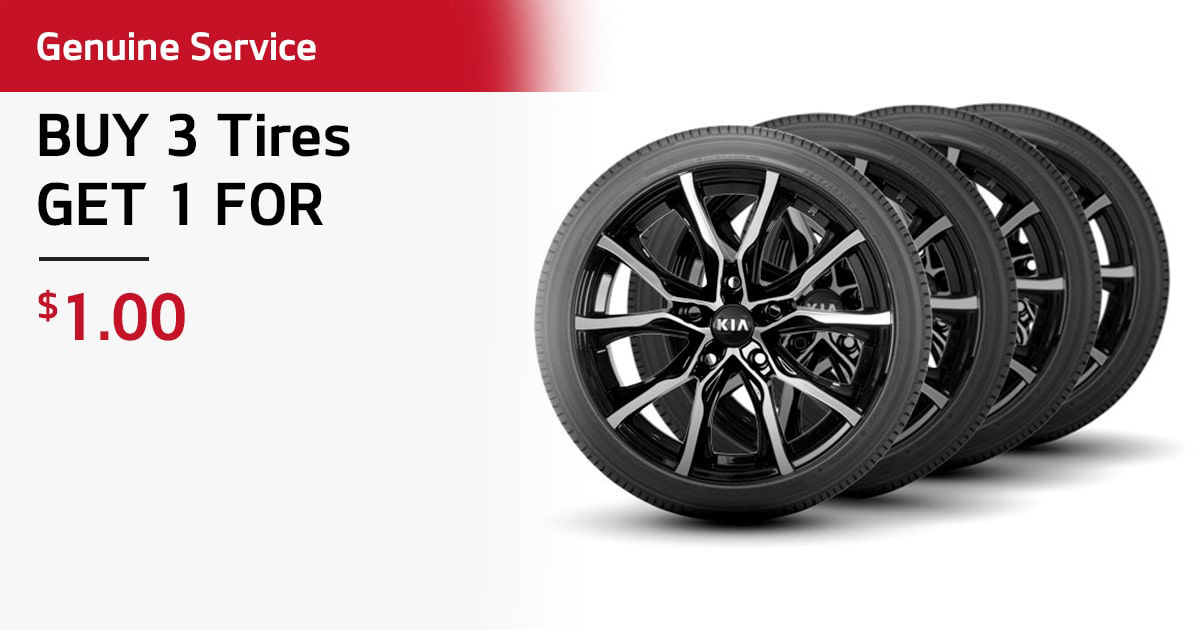 Kia Buy 3 Tires, Get 1 For $1 Service Special Coupon