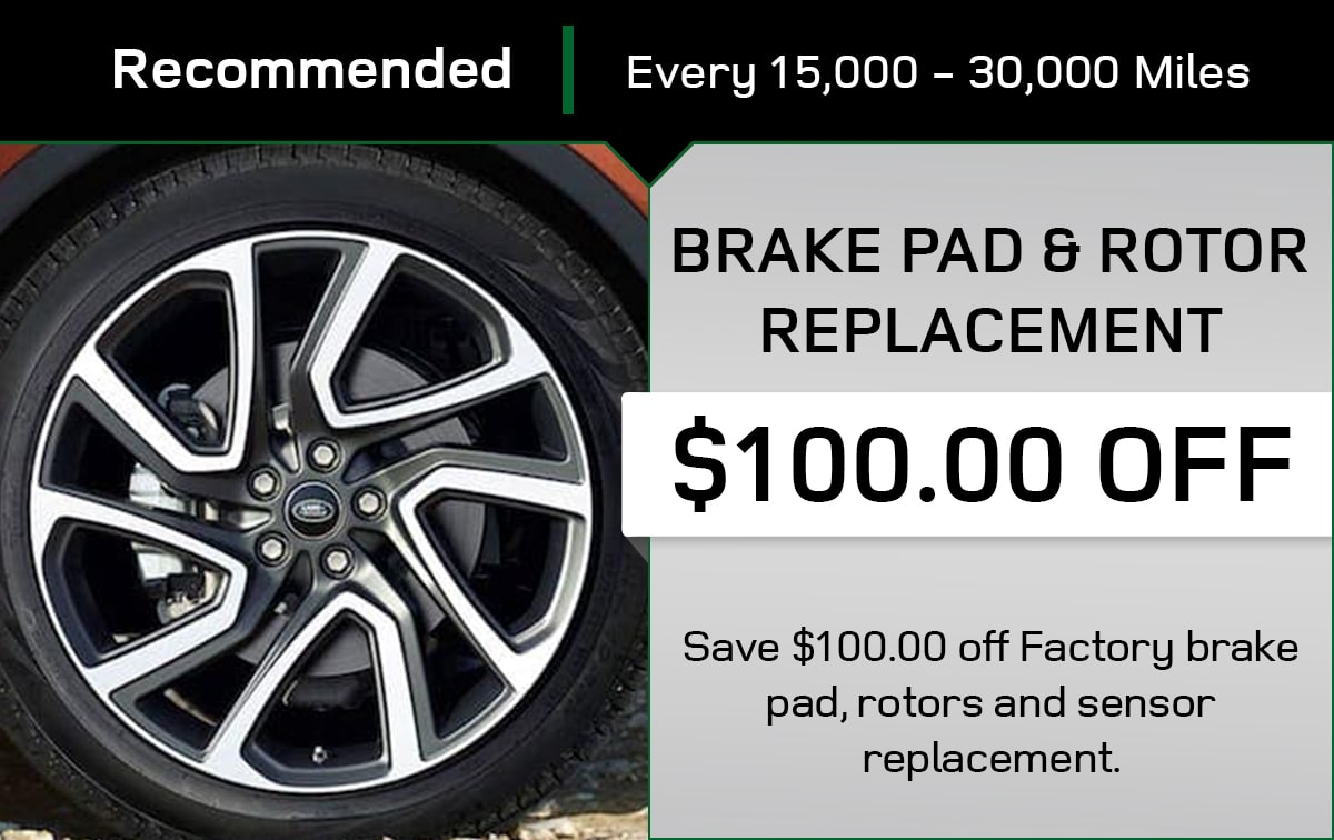 Land Rover Brake Pad & Rotor Replacement Service Special Coupon