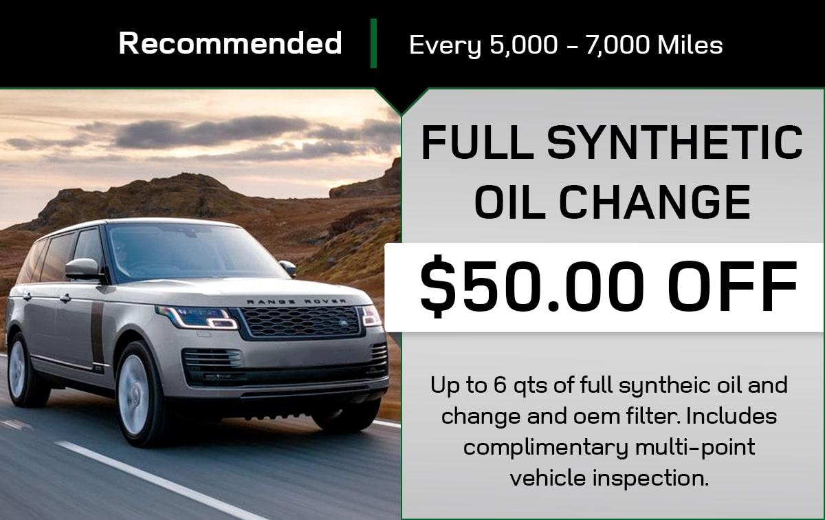 Land Rover Full Synthetic Oil Change Service Special Coupon