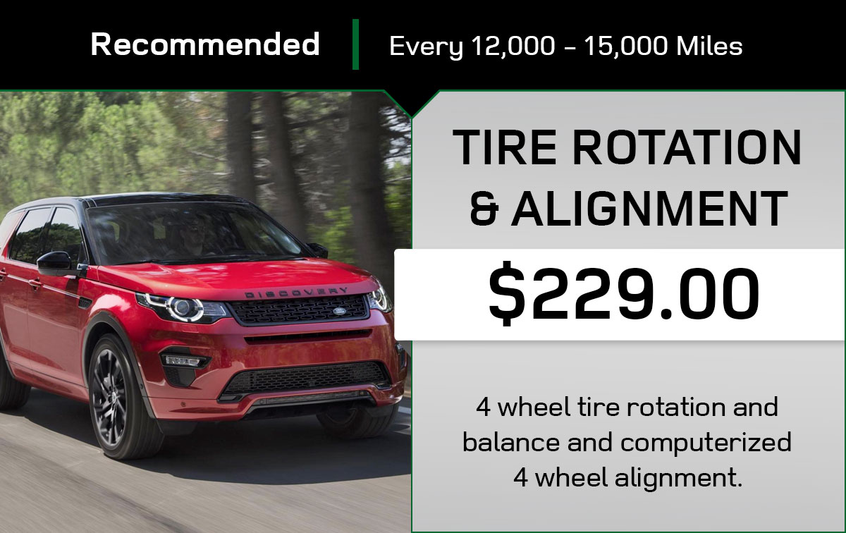 Land Rover Tire Rotation & Alignment Service Special Coupon