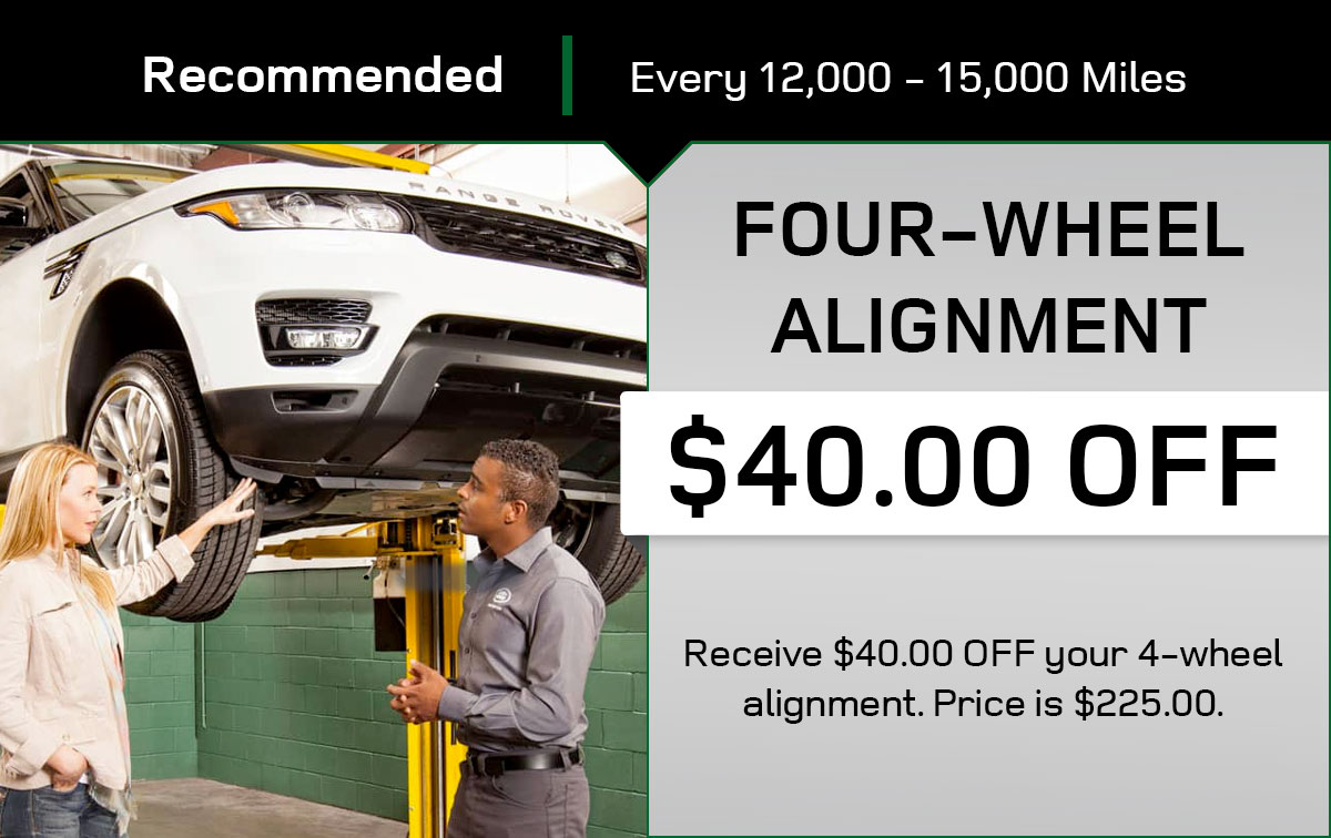 Land Rover 4-Wheel Alignment Service Special Coupon