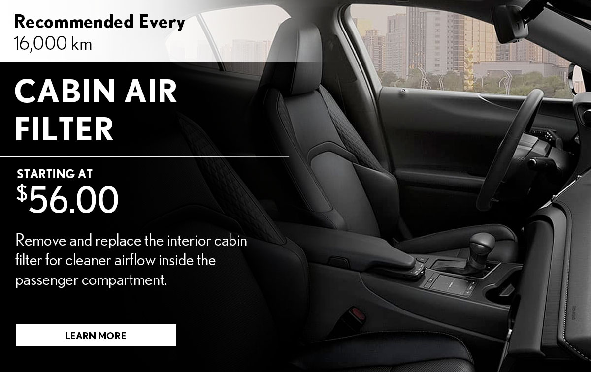Lexus Cabin Air Filter Replacement Service Special Coupon