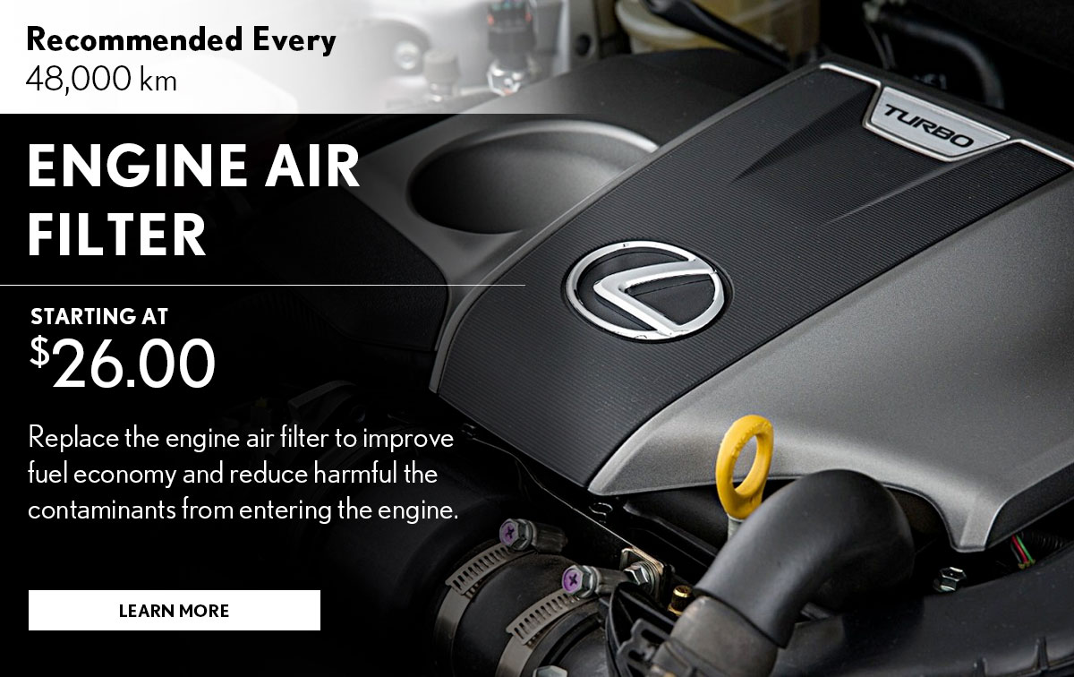 Lexus Engine Air Filter Replacement Service Special Coupon