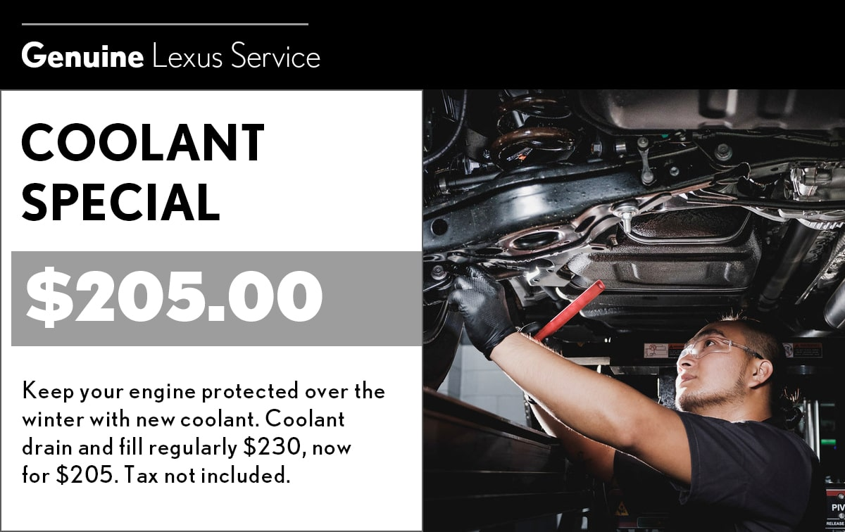 Lexus Coolant Fluid Exchange Service Special Coupon