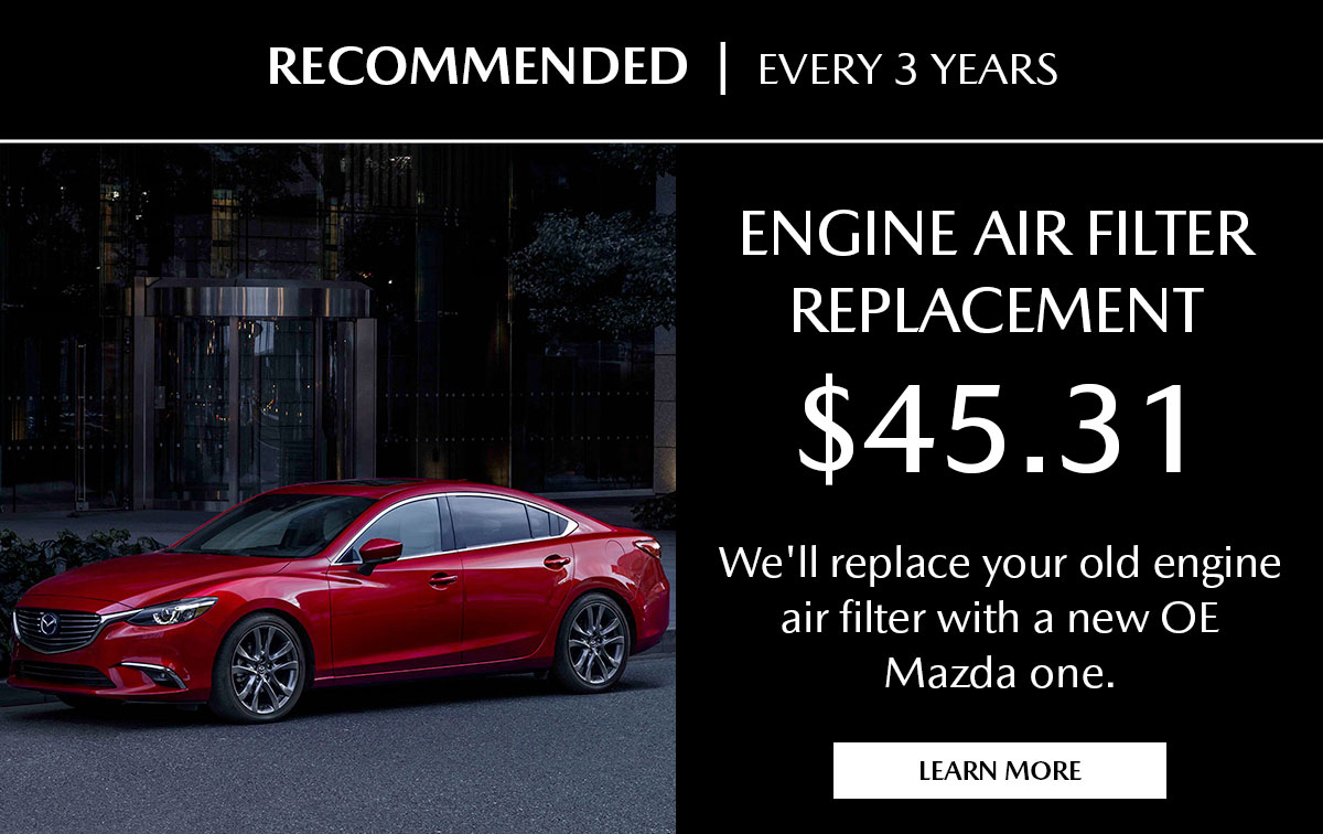 Mazda Engine Air Filter Replacement Service Special Coupon