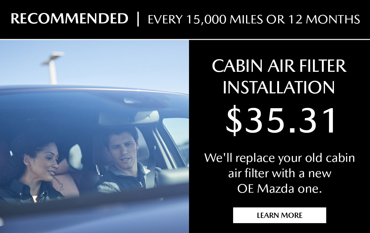 Mazda Cabin Air Filter Replacement Service Special Coupon