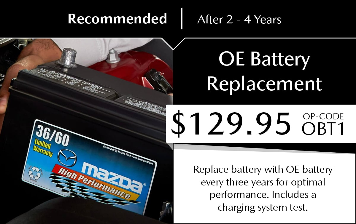Mazda OE Battery Replacement Service Special Coupon