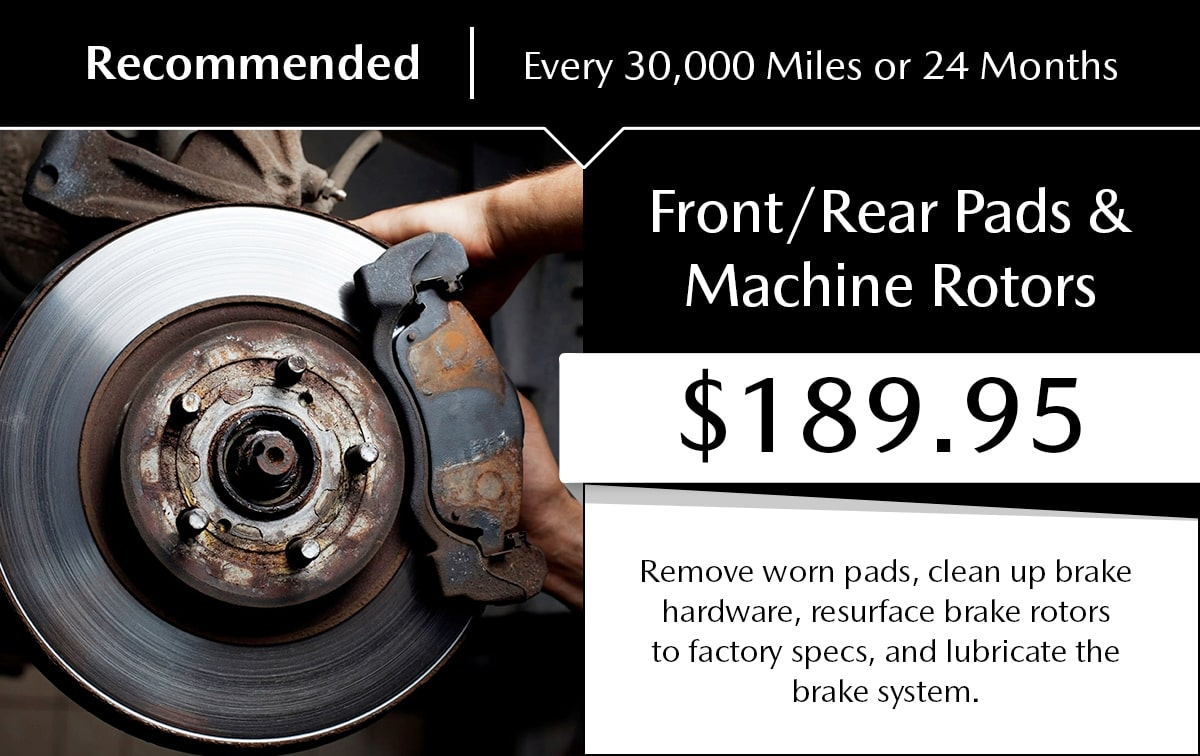 Mazda Front/Rear Pads and Machine Rotors Service Special Coupon