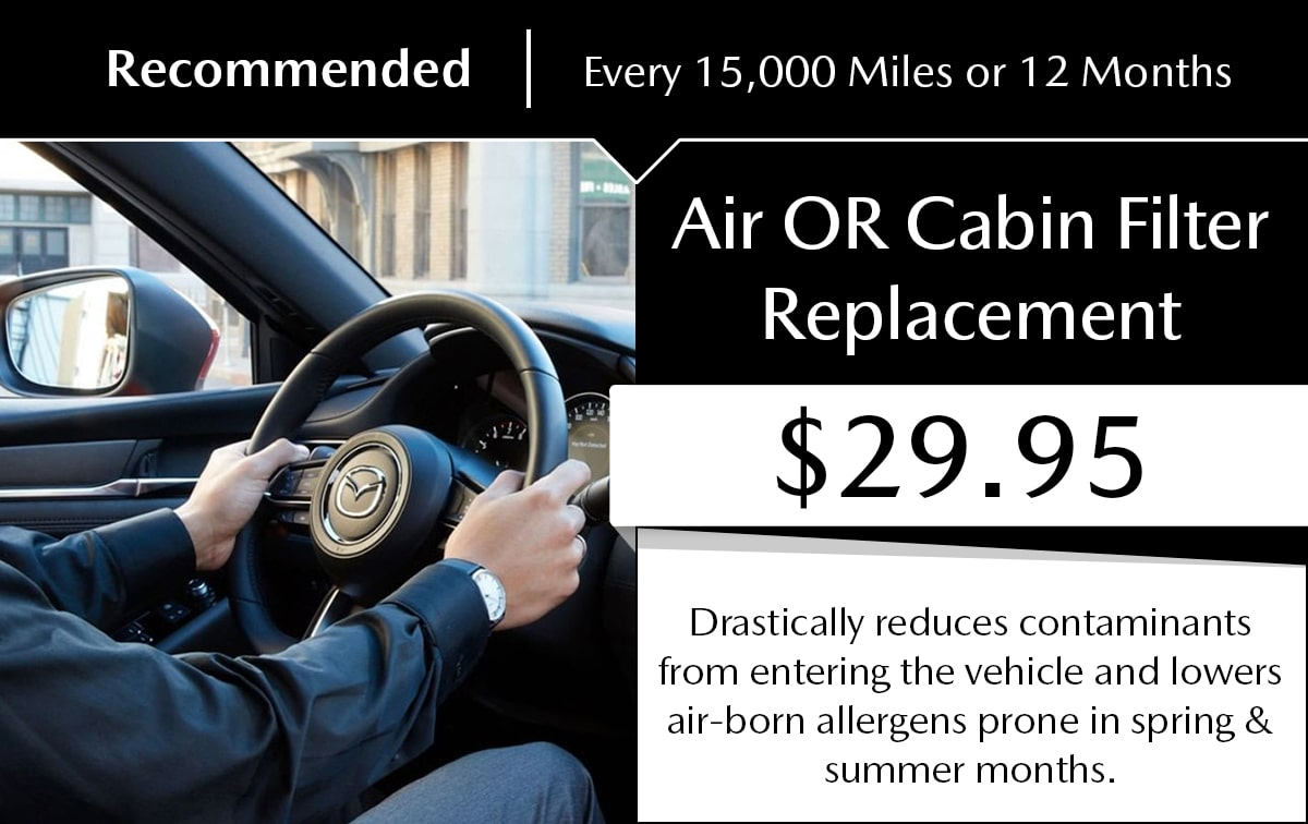 Mazda Air OR Cabin Filter Replacement Service Special Coupon