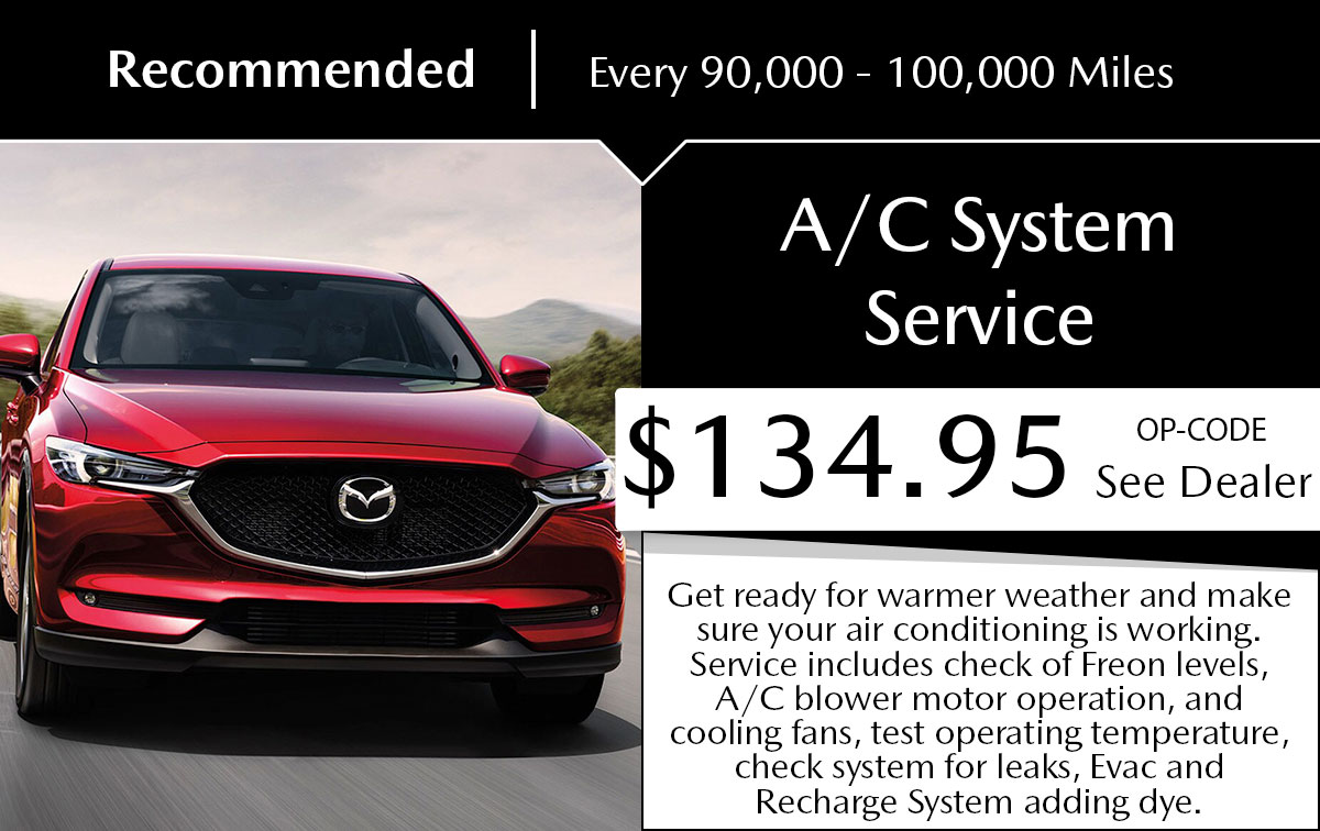 Mazda A/C System Service Special Coupon