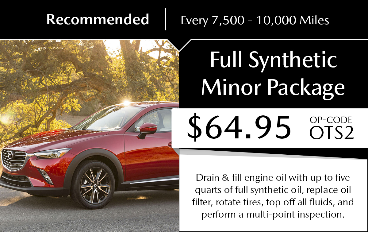 Mazda Full Synthetic Minor Package Service Special Coupon