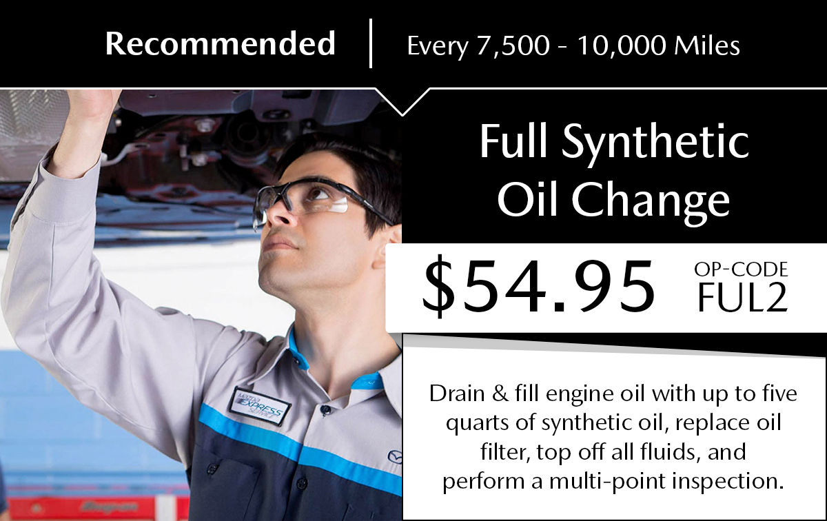 Mazda Full Synthetic Oil Change Service Special Coupon