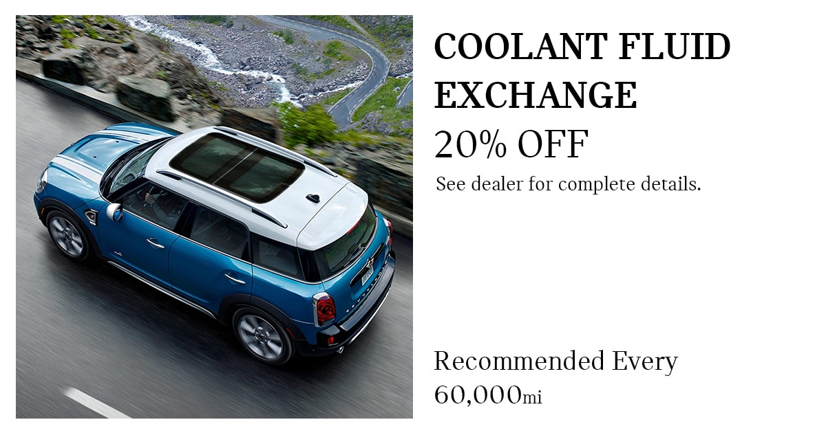 MINI Coolant Fluid Exchange Service Special Coupon