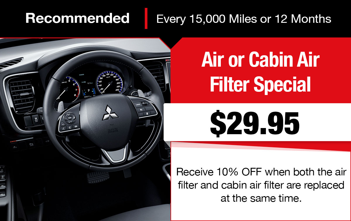 Mitsubishi Air or Cabin Filter Service Special Coupon