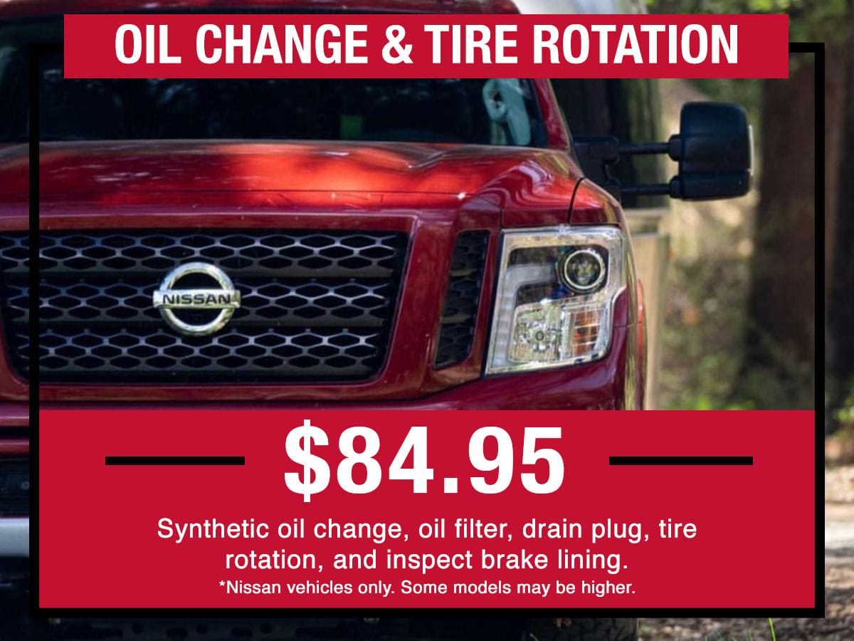 Nissan Oil Change & Tire Rotation Service Special Coupon