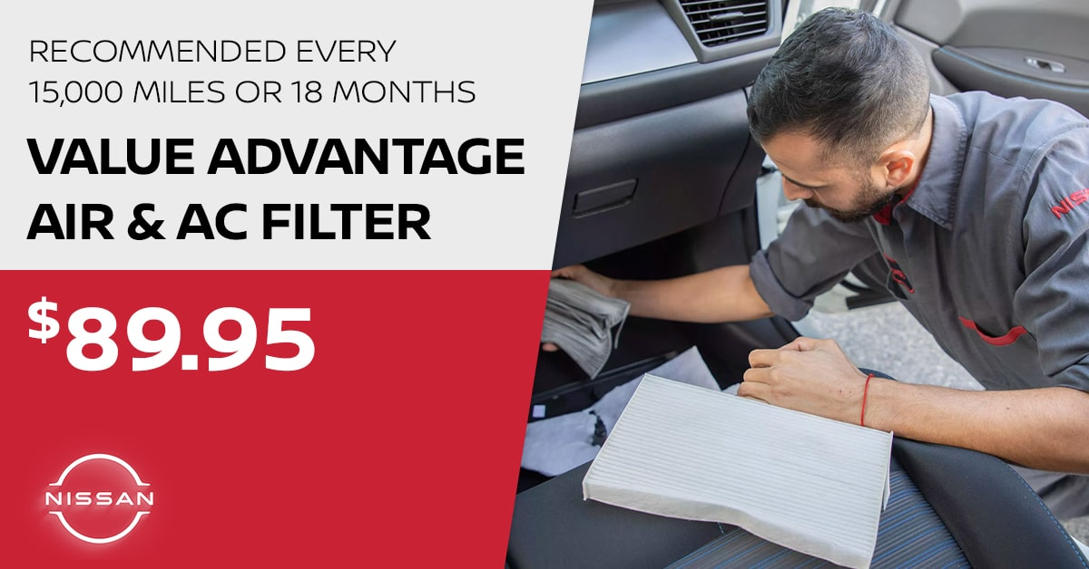 Nissan Air & AC Filter Install Service Special Coupon