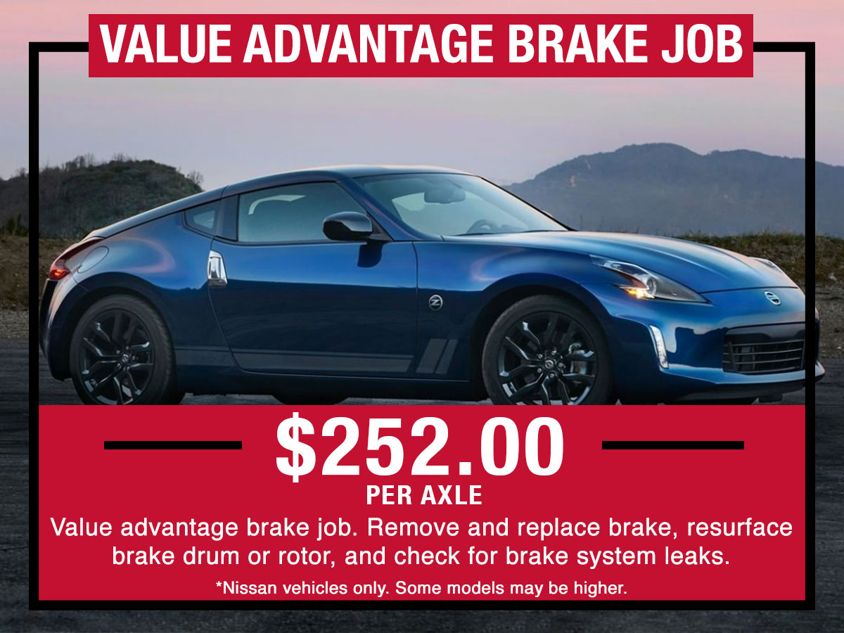 Nissan Value Advantage Brake Job Service Special Coupon