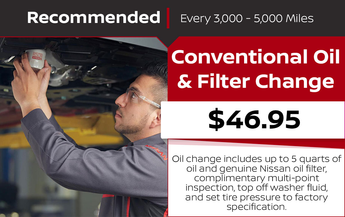 Nissan Conventional Oil Change Service Special Coupon