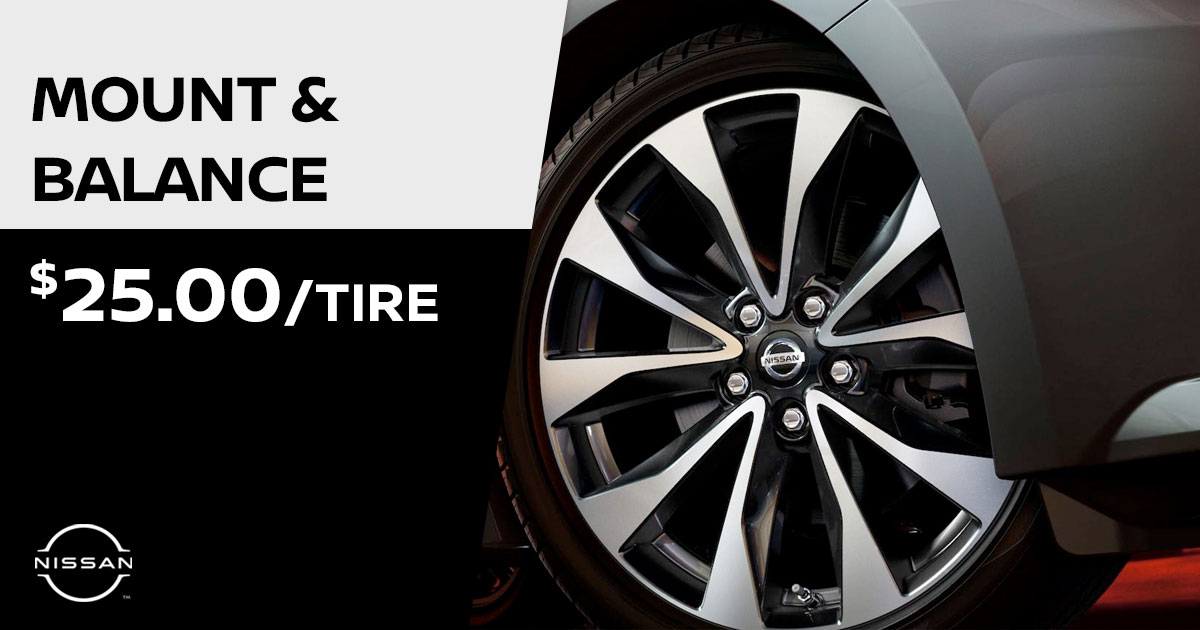 Nissan Tire Mount and Balance Service Special Coupon
