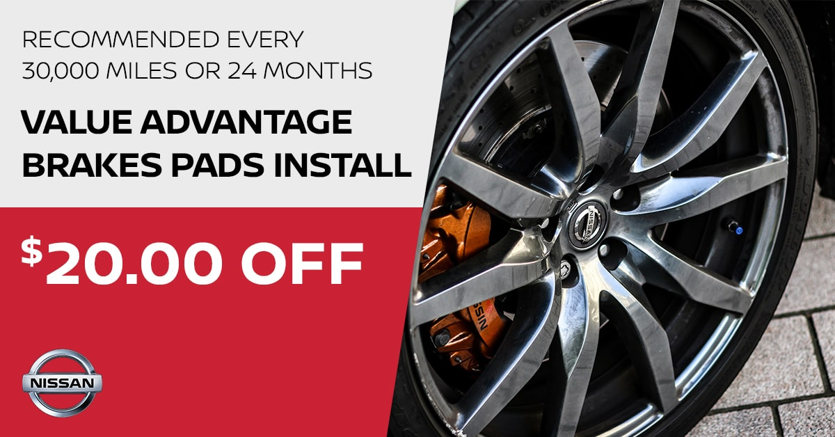 Nissan Value Advantage Brakes Pad Install Service Special Coupon