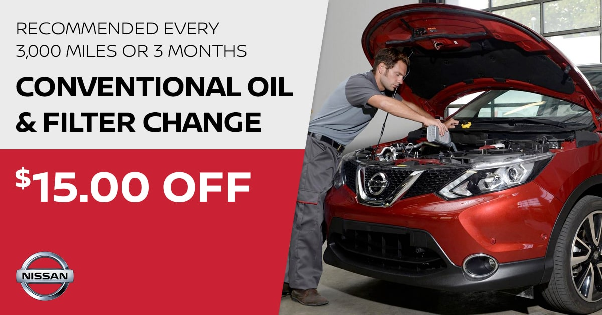 Nissan Conventional Oil & Filter Change Service Special Coupon