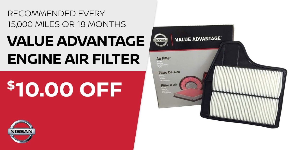 Nissan Value Advantage Engine Air Filter Service Special Coupon