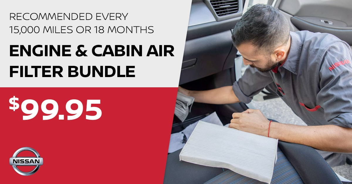 Nissan Engine & Cabin Air Filter Bundle Service Special Coupon