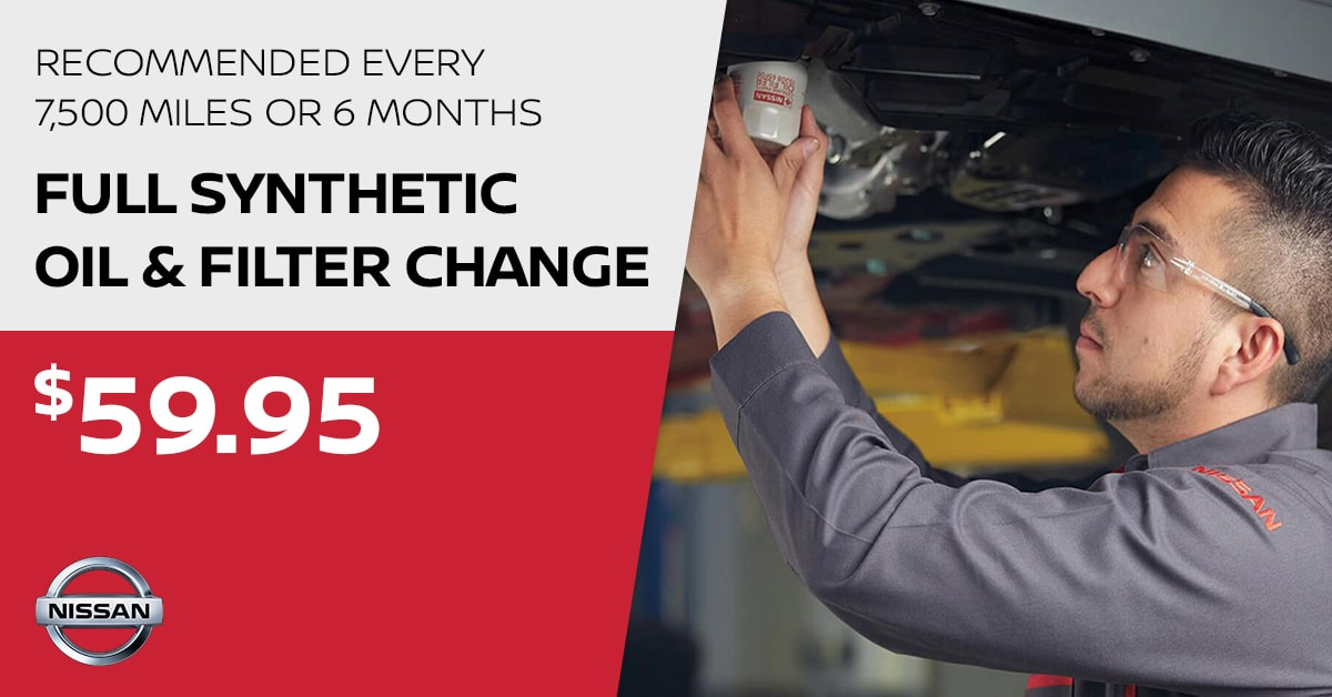 Nissan Full Synthetic Oil & Filter Change Service Special Coupon