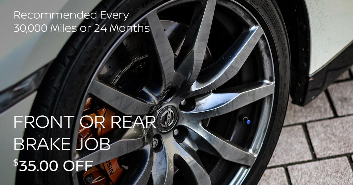 Nissan Front or Rear Brake Job Service Special Coupon