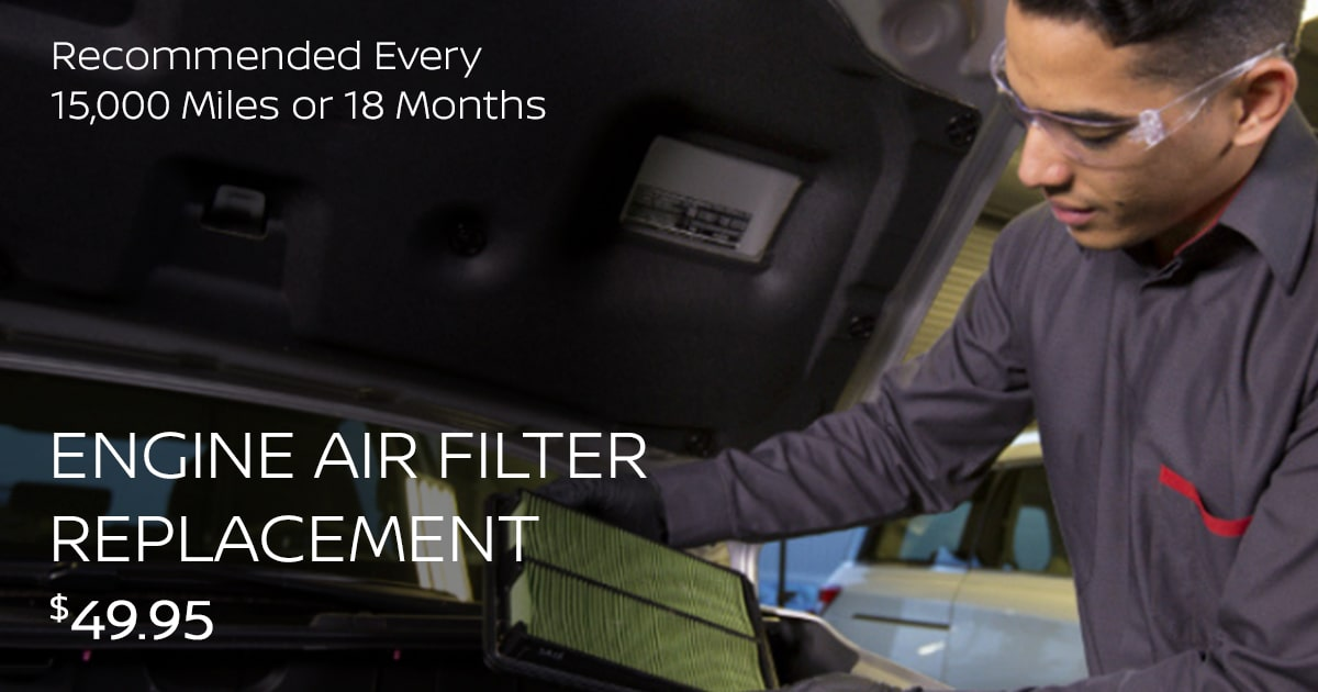 Nissan Engine Air Filter Replacement Service Special Coupon
