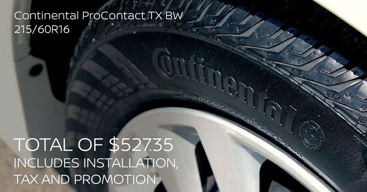 Nissan Continental ProContact TX BW 215/60R16 Tire Special