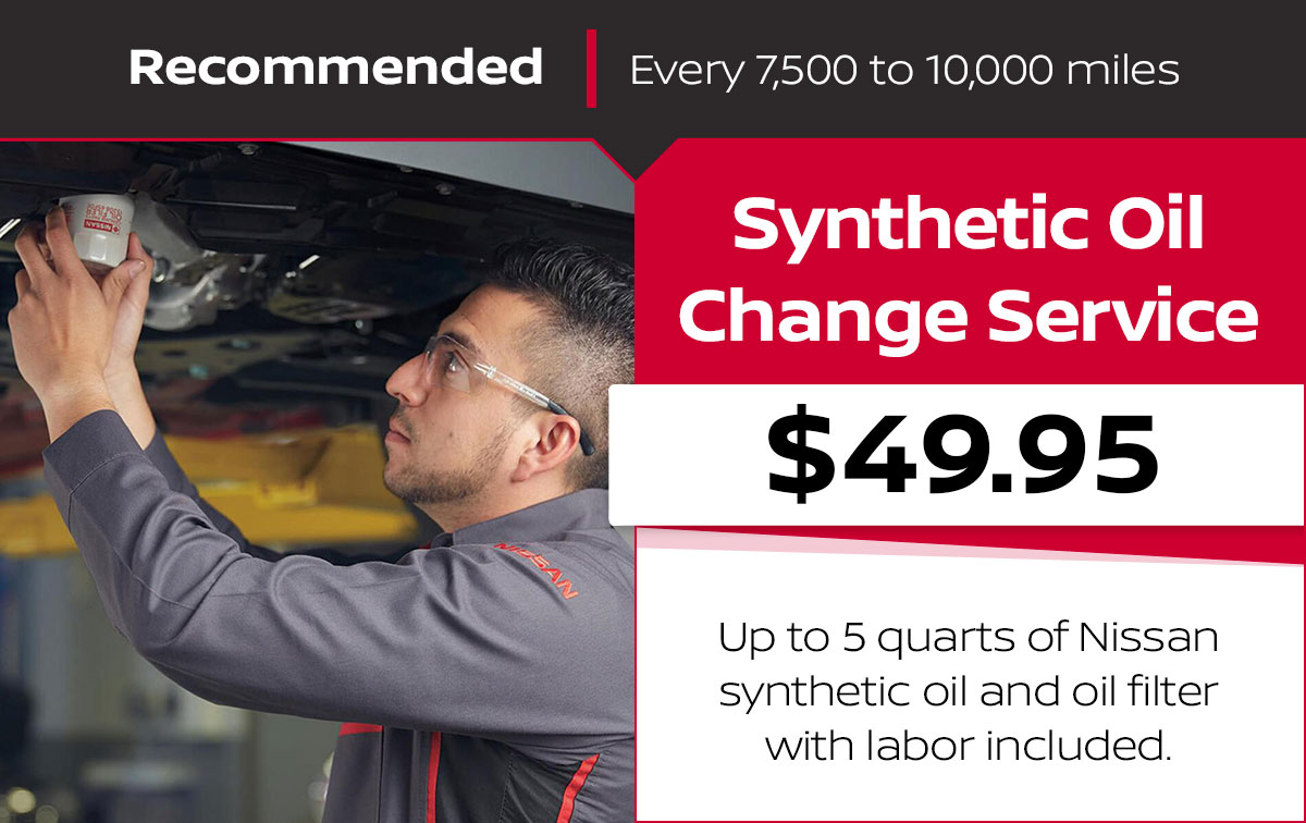 Nissan Synthetic Oil Change Service Special Coupon