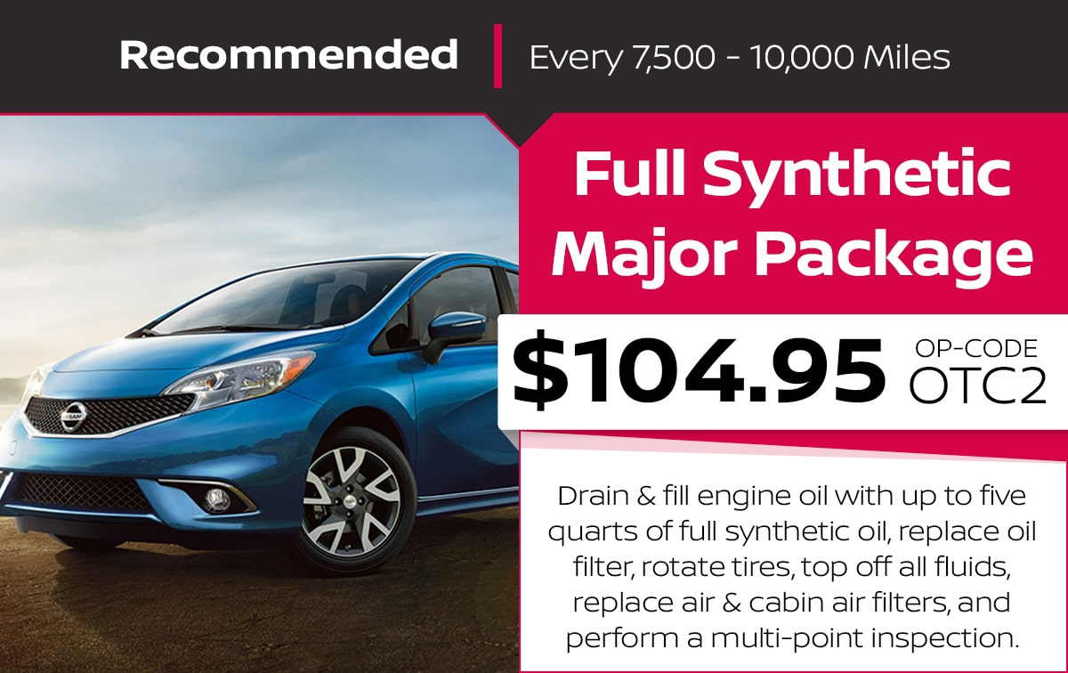 Nissan Full Synthetic Major Package Service Special Coupon