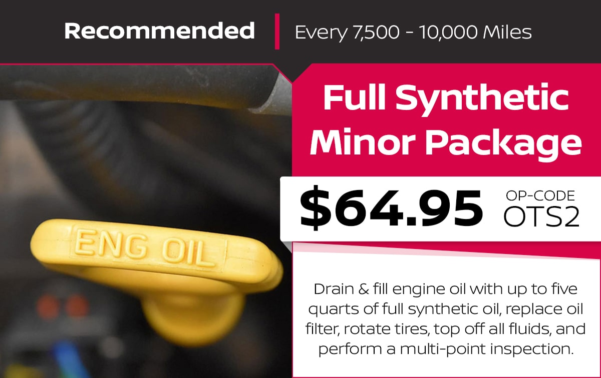 Nissan Full Synthetic Minor Package Service Special Coupon