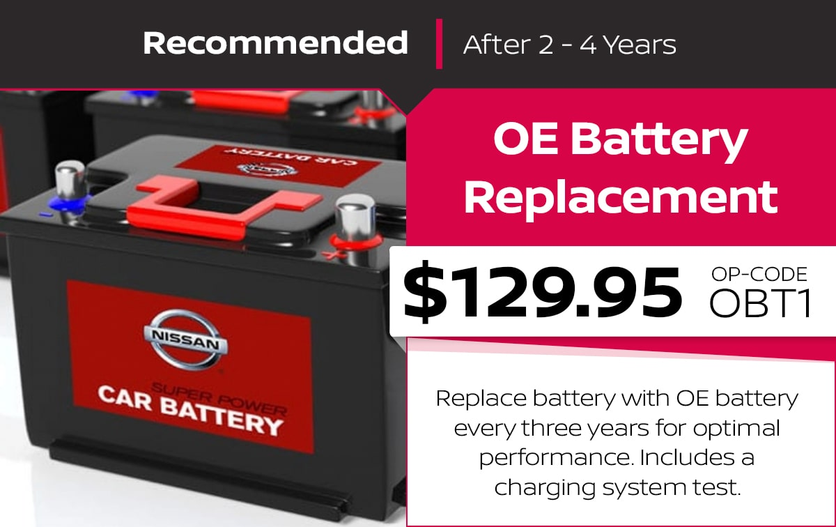Nissan OE Battery Replacement Service Special Coupon