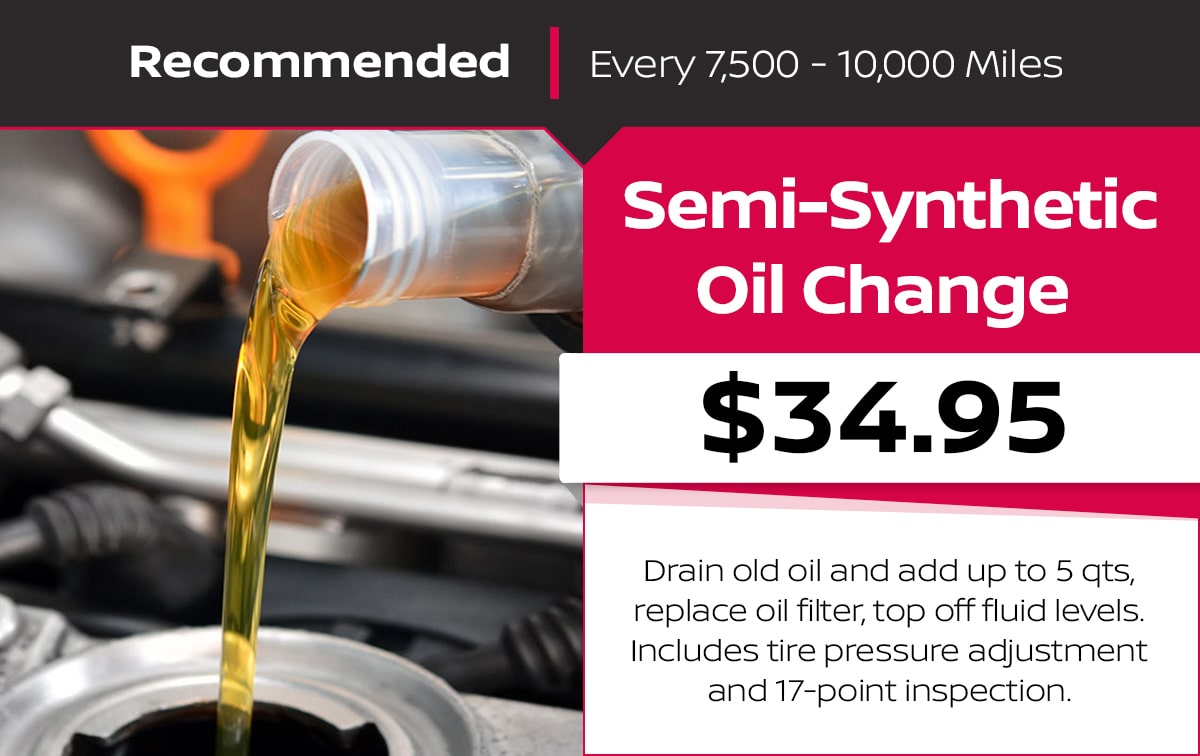 Nissan Semi-Synthetic Oil Change Service Special Coupon