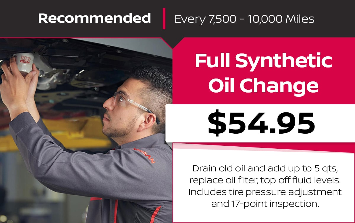 Nissan Full Synthetic Oil Change Service Special Coupon