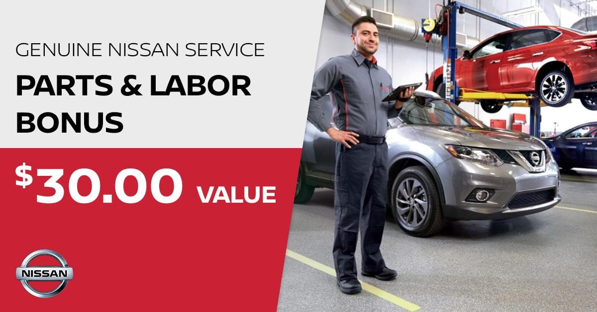 Nissan Parts & Labor Bonus Service Special Coupon