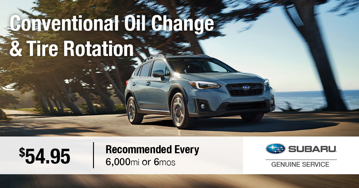Subaru Conventional Oil Change & Tire Rotation Service Special Coupon