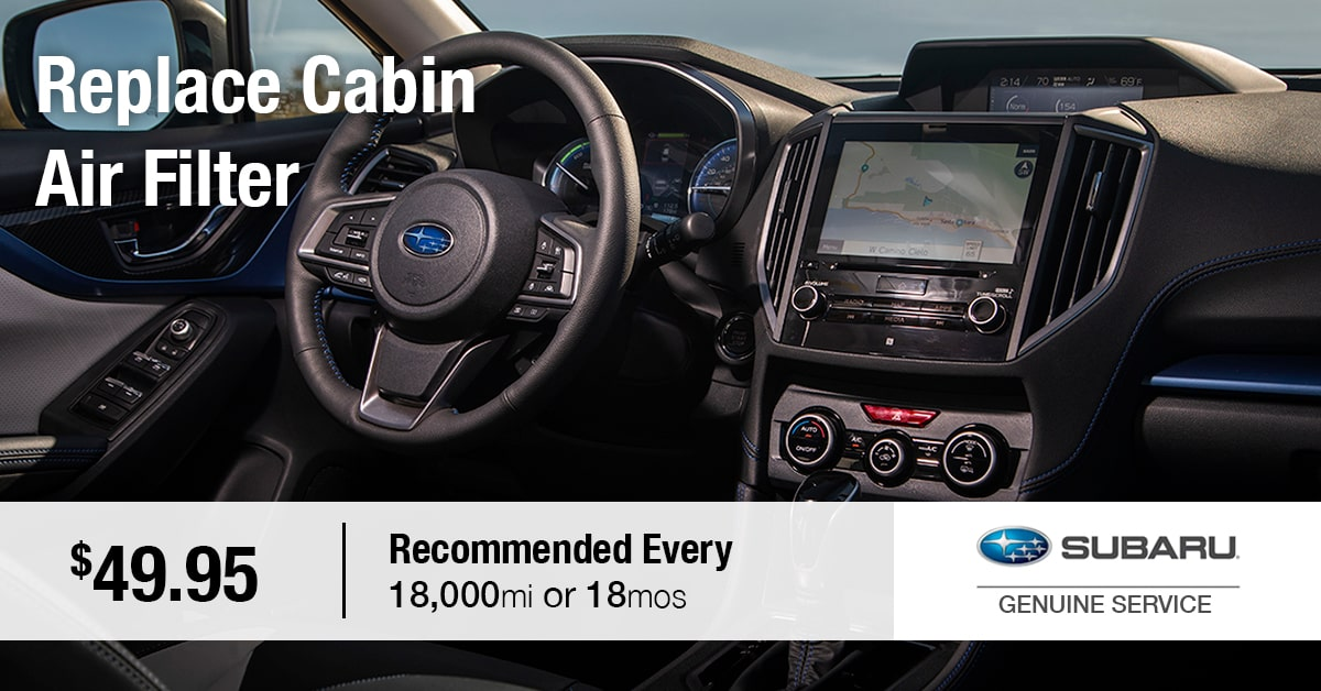 Subaru Replace Cabin Air Filter Service Special Coupon