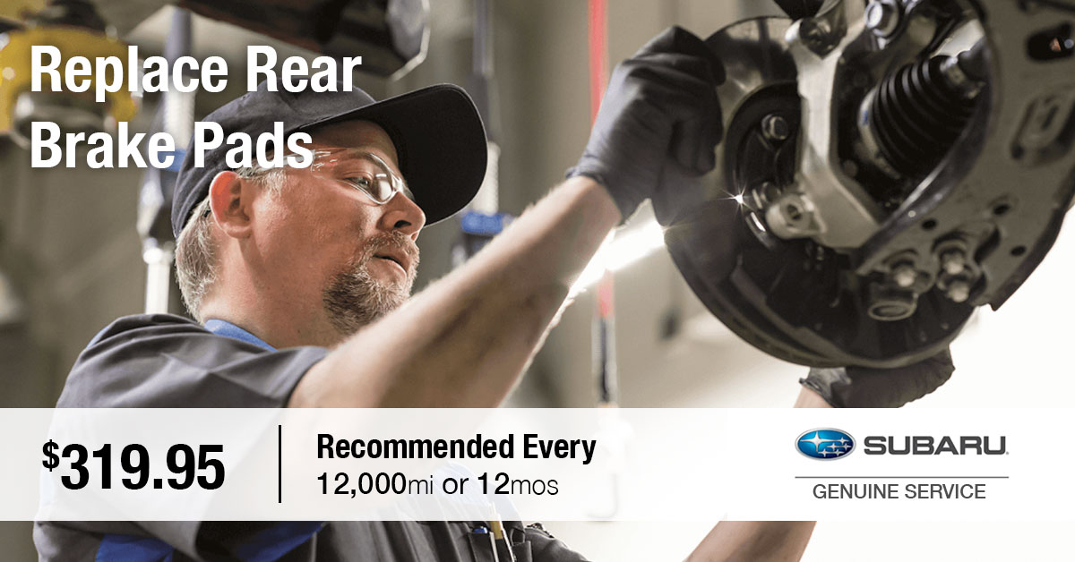 Subaru Replace Rear Brake Pads Service Special Coupon