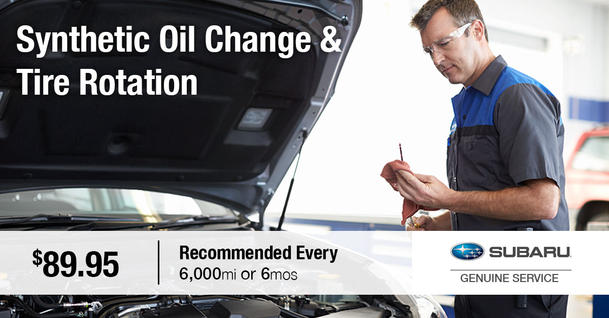 Subaru Synthetic Oil Change & Tire Rotation Service Special Coupon