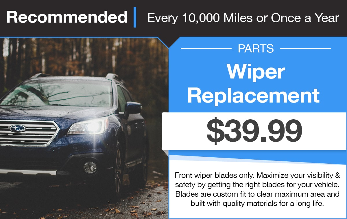 Subaru Windshield Wiper Replacement Service Special Coupon